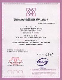 程力职业健康安全管理体系认证证书